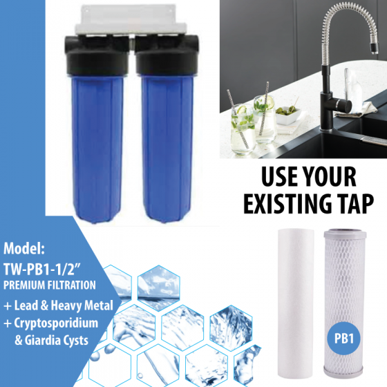"""Twin Undersink Pb1 with 1/2"""" ports"""